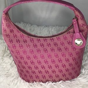 Dooney & Bourke Pink Small Hobo Tote signature